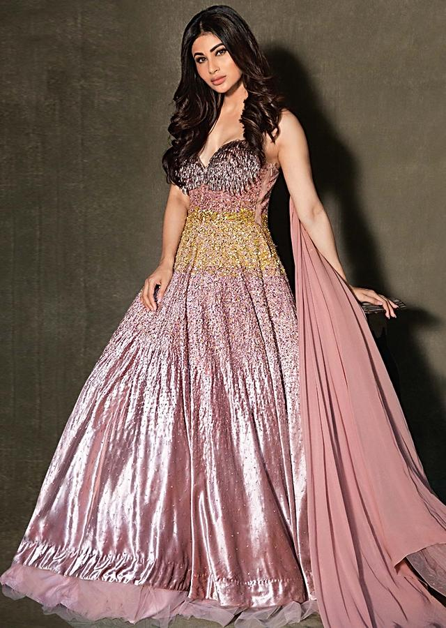 Mouni Roy in Kalki dusty rose pink strap gown in shimmer sequins embroidery