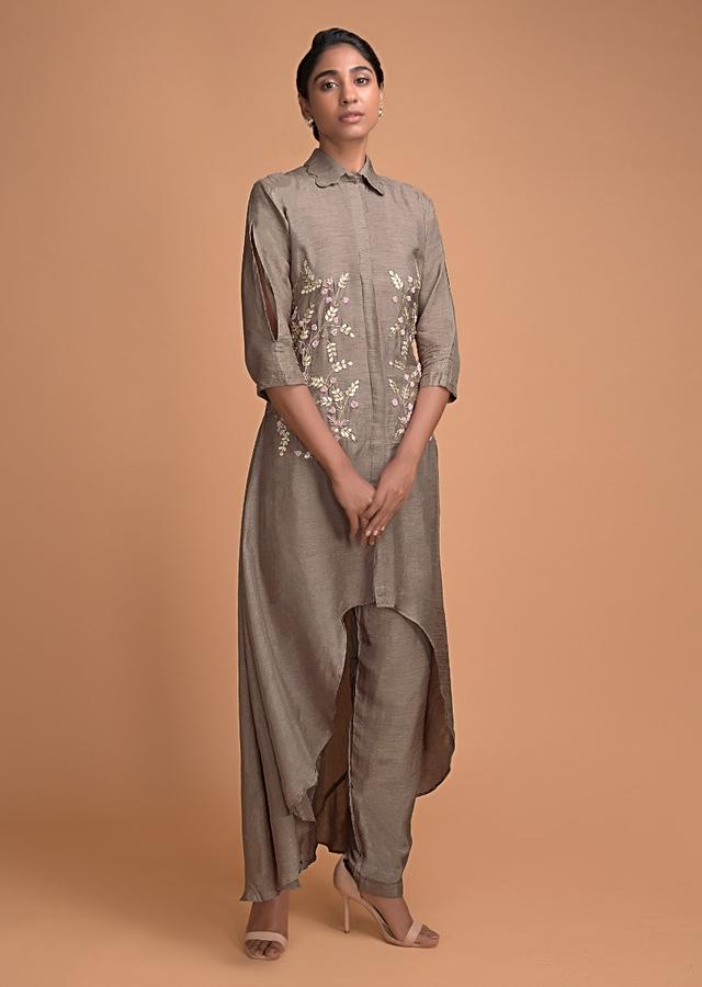 Mouse Grey A Line Suit With High Low Hemline And Embroidered Bodice In Leaf Motifs Online - Kalki Fashion
