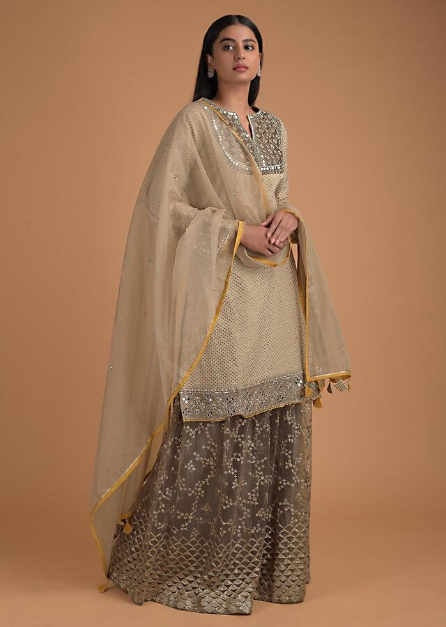 Mouse Grey Palazzo Suit With Beige Kurti Adorned With Mirror And Weaved Pattern Online - Kalki Fashion