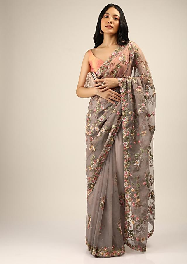 Mouse Grey Saree In Organza With Multi Color Resham Embroidered Floral Motifs Along With Moti And Cut Dana Accents Online - Kalki Fashion