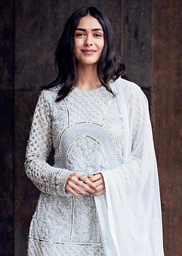 Mrunal Thakur in Kalki Brittany Blue Suit In Embroidered Net With Matching Georgette Sharara