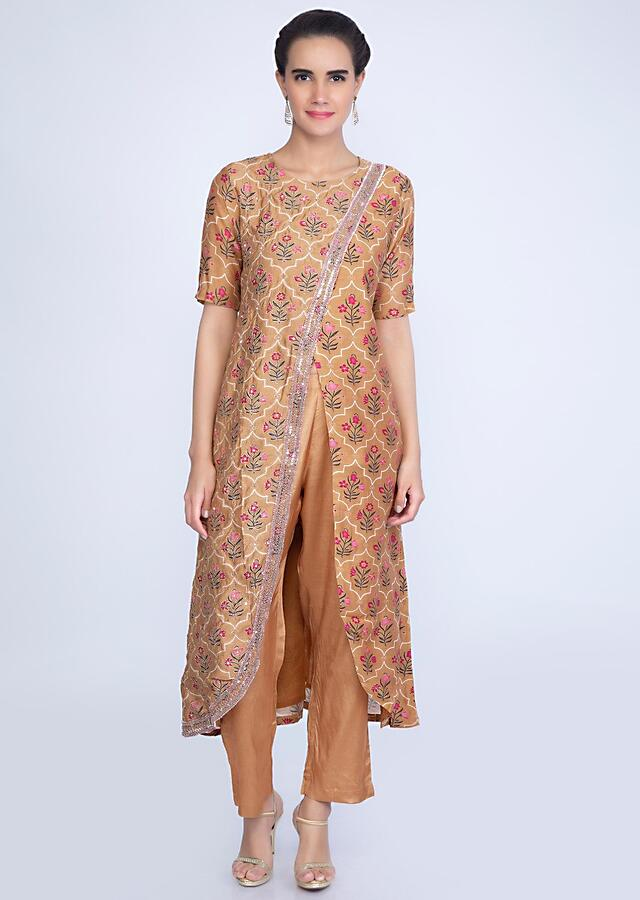 Mud Brown Aangrakha Style Printed Suit With Matching Straight Pant Online - Kalki Fashion