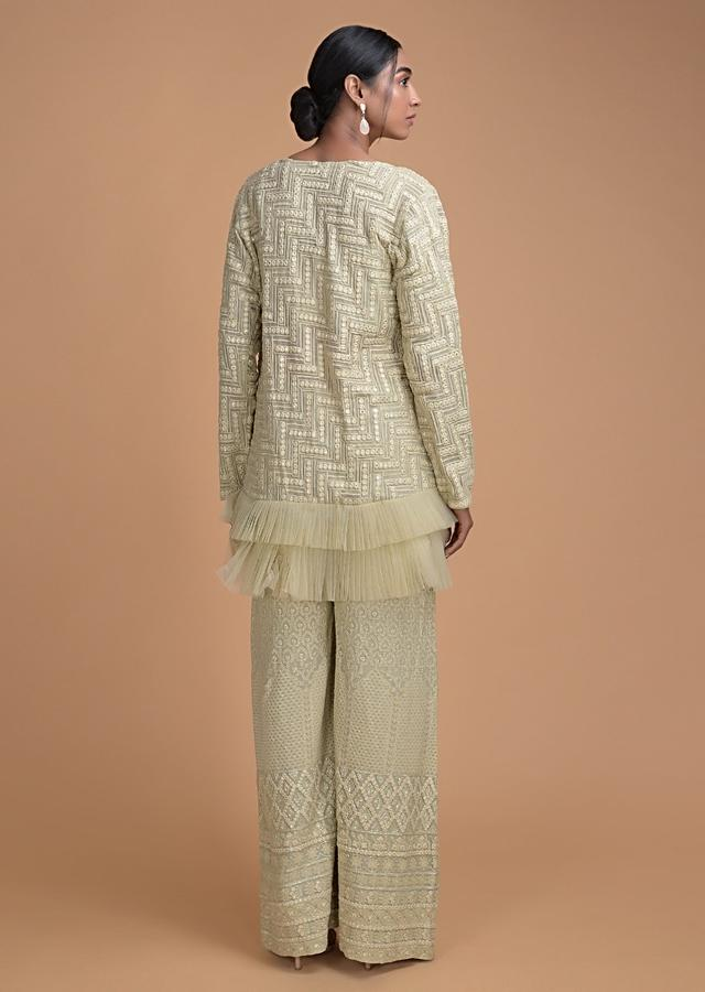 Mud Green Crop Top And Pant In thread Work With Long Jacket Online - Kalki Fashion