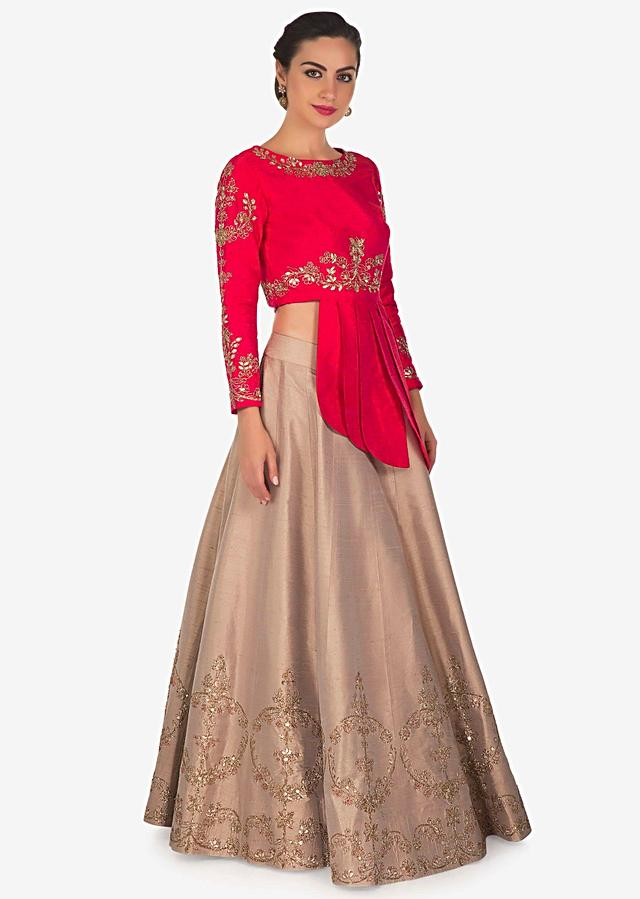 Mud Brown Lehenga In Raw Silk With Rani Pink Embroidered Blouse Online - Kalki Fashion