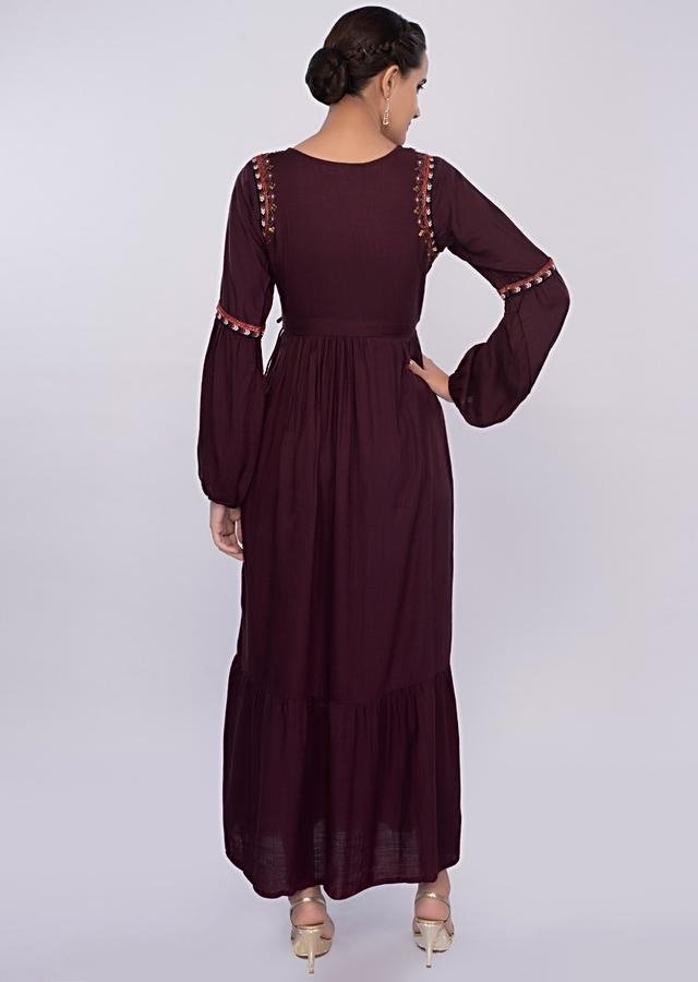 Mulberry Tunic Dress In Cotton With Gathers Online - Kalki Fashion