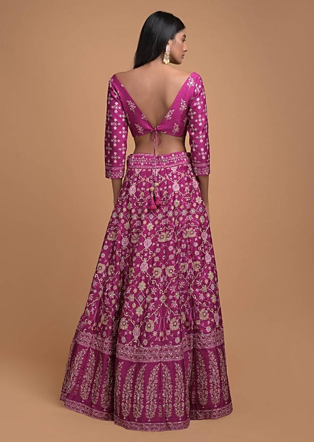 Mulberry Pink Lehenga Choli In Silk With Floral Jaal Print Online - Kalki Fashion