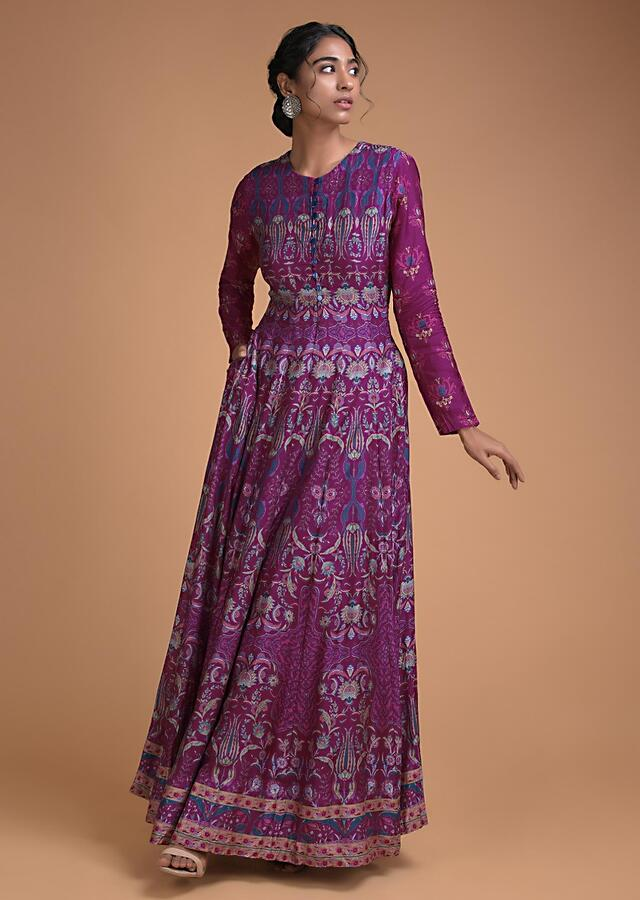 Mulberry Purple Anarkali Dress In Santoon With Floral Jaal Print Online - Kalki Fashion
