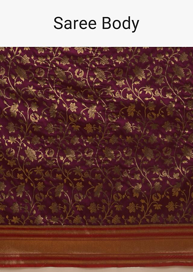 Mulberry Purple Banarasi Saree In Silk With Brocade Woven Floral Jaal And Red Brocade Border Along With Unstitched Blouse Online - Kalki Fashion