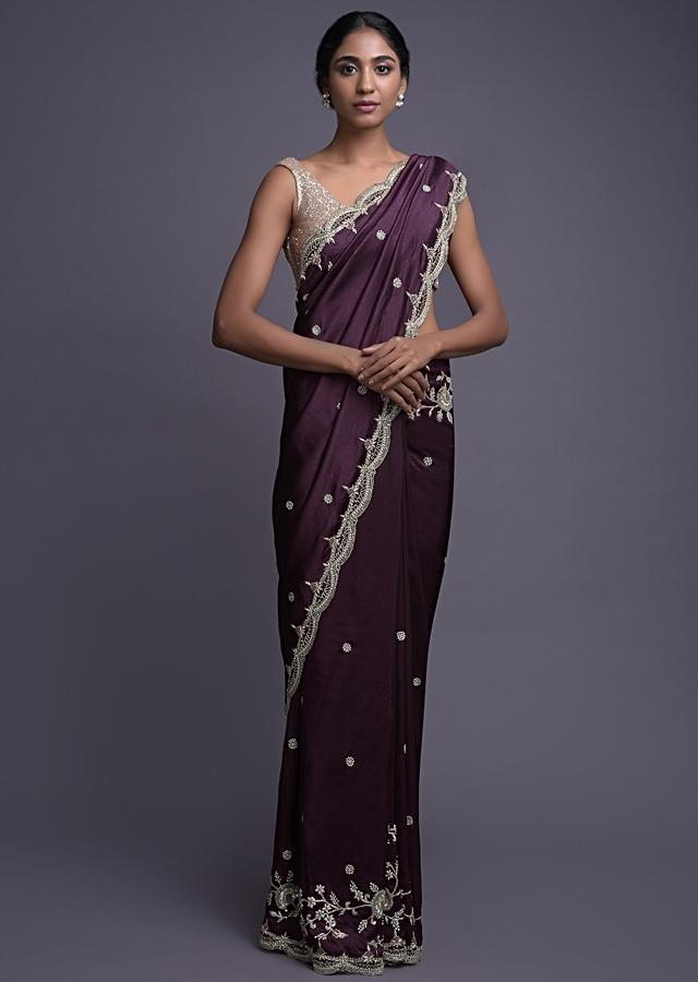Mulberry Purple Saree In Dupion With Floral Buttis And Border Online - Kalki Fashion