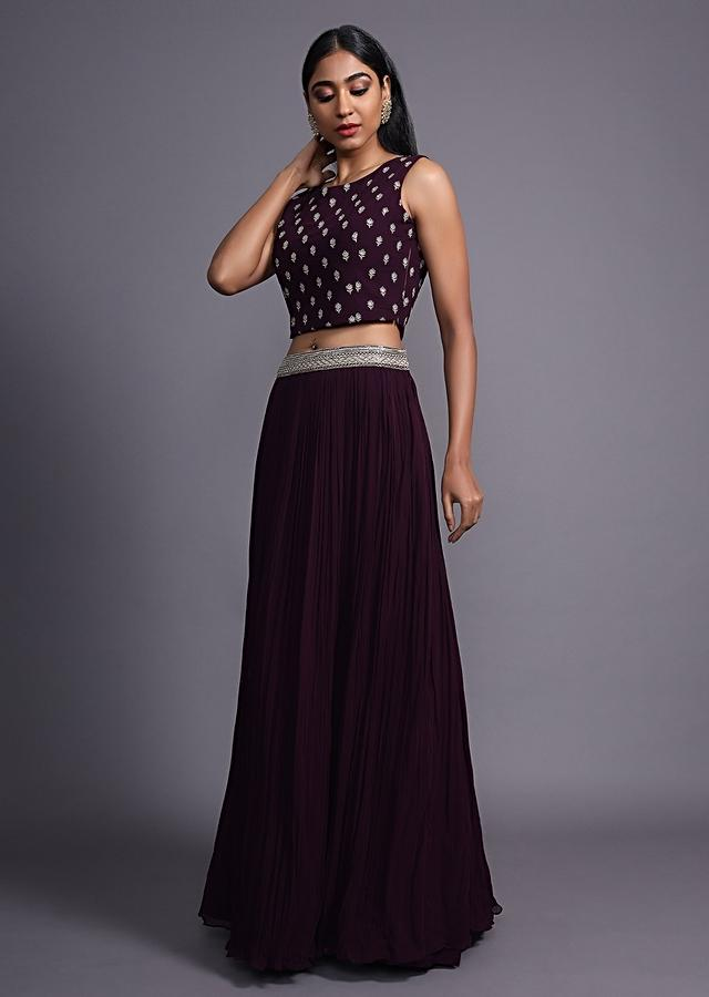 Mulberry Purple Skirt And Crop Top With A Long Jacket Embellished With Resham And Cut Dana Work Online - Kalki Fashion