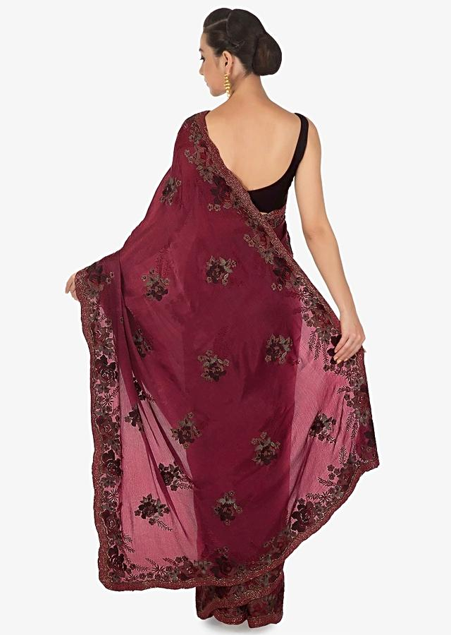 Mulberry Purple Saree Adorned In Resham And Moti Embroidered Butti And Border Online - Kalki Fashion