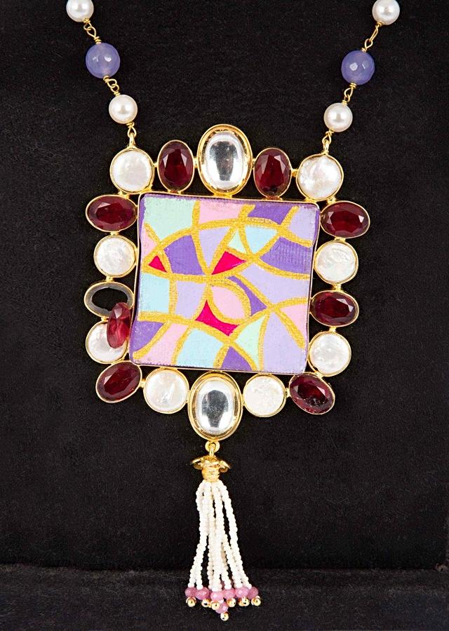 Multi Color Beaded Necklace With A Hand Painted Pendant Enhanced With Kundan And Ruby Beads Online - Kalki Fashion
