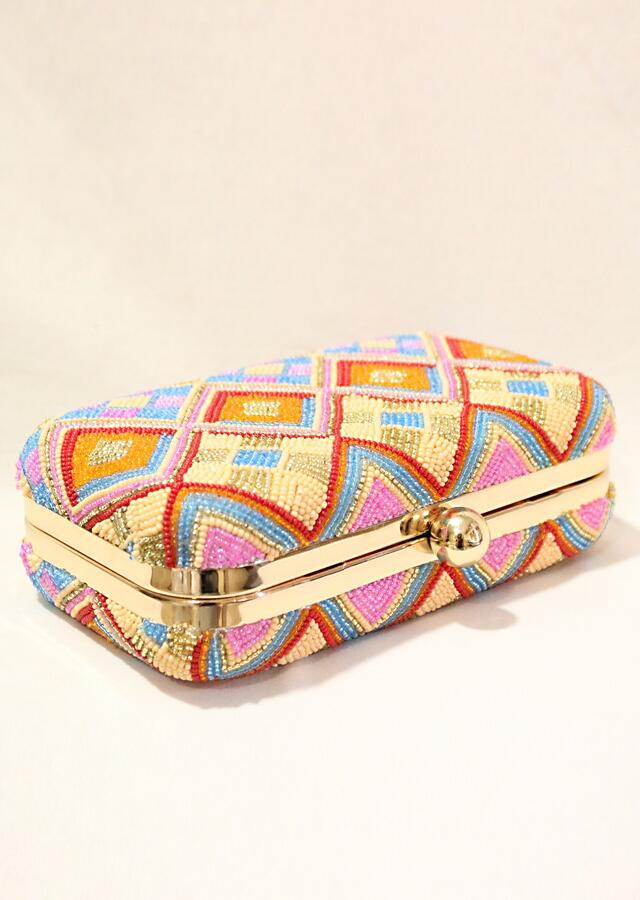 Multi Color Box Clutch With Hand Embroidered Cut Dana Work In Geometric Motifs Online - Kalki Fashion