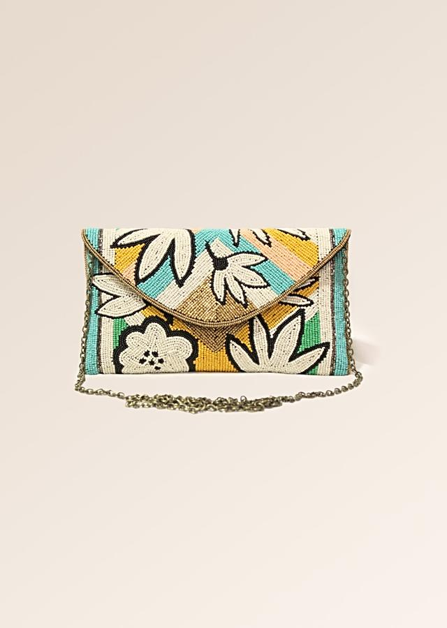 Multi Color Envelope Clutch With Hand Embroidered Cut Dana Work In Floral Motifs Online - Kalki Fashion