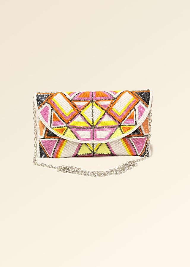 Multi Color Envelope Clutch With Hand Embroidered Cut Dana Work In Geometric Motifs Online - Kalki Fashion