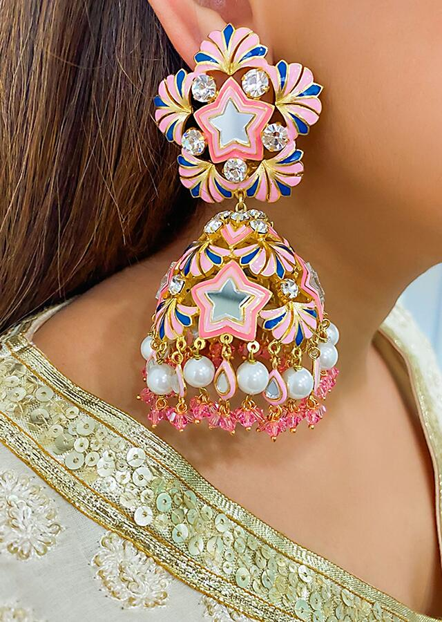 Multi Color Jhumkas Embellished With Mirror, Dainty Pearls And Hand-Enamelling By Prerto