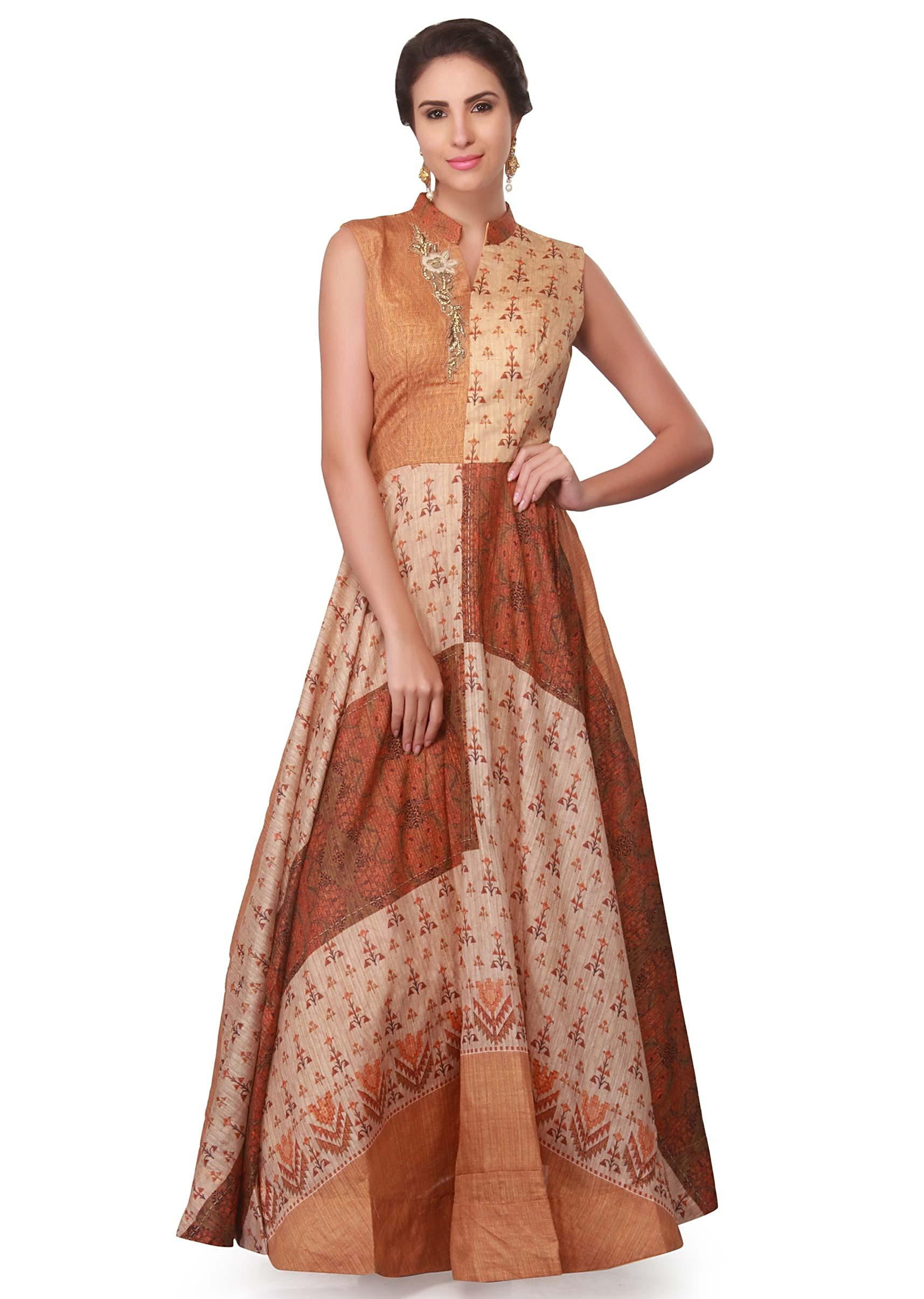 e79b756844 Multi color printed dress with embroidered neckline only on KalkiMore Detail