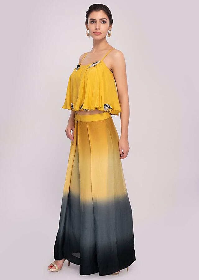 Multi Color Pleated Palazzo With Shaded Effect Paired With An Embroiderd Strap Crop Top Online - Kalki Fashion