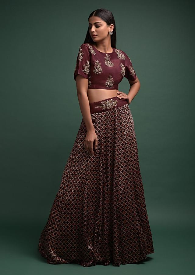 Multi Color Skirt And Maroon Crop Top With Moroccan Print And Zardozi Embroidery Online - Kalki Fashion