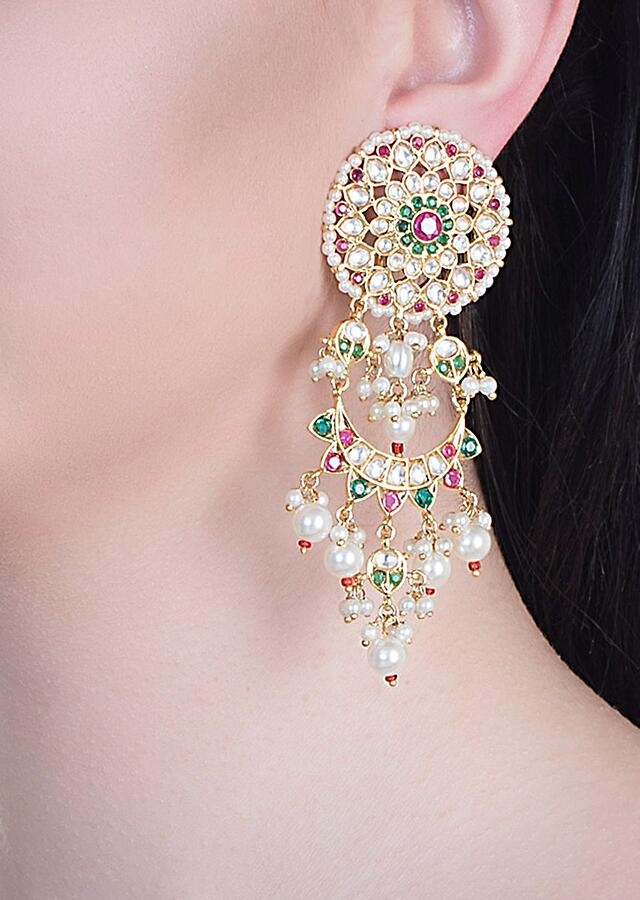 Multi Color Stone Studded Earring With Kundan And Faux Diamonds By Aster