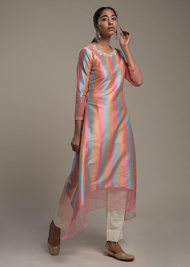 Multi Colored A Line Kurti In Silk With Orange, Mint And Pink Stripes And Embroidered Organza Tier On The Hem Online - Kalki Fashion
