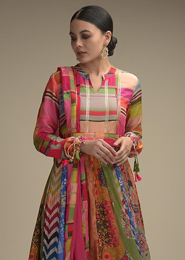 Multi Colored Anarkali Suit In Cotton With Printed Kalis And A Belt At The Waist Online - Kalki Fashion