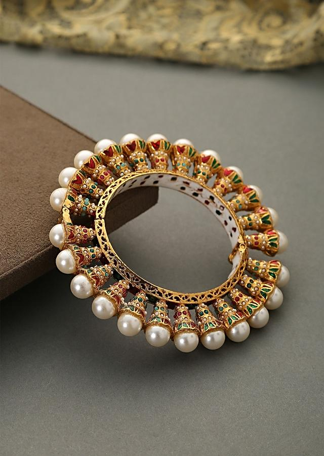 Multi Colored Bangle Encrusted With Shell Pearls And Minakari Detailing In Red And Green By Paisley Pop