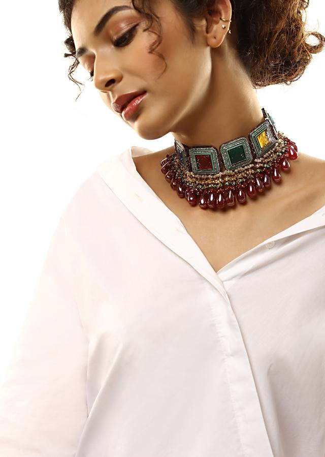 Multi Colored Choker With Carved Stones, Bead Fringes And Wine Colored Drops By Kohar