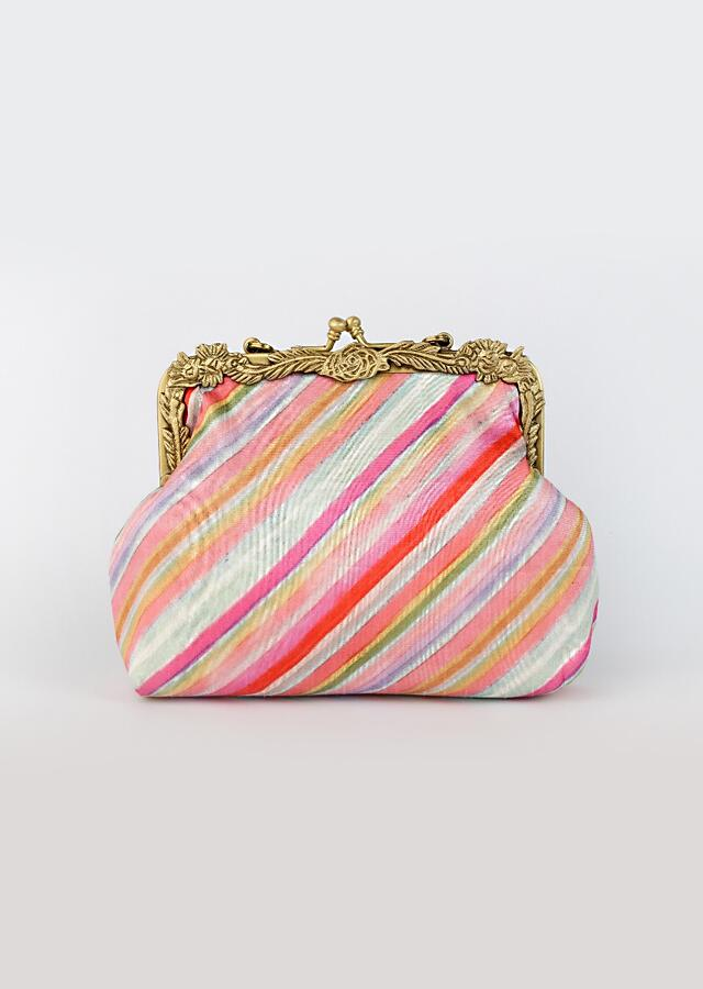 Multi Colored Clutch With Diagonal Bright Color Lines Inspired From Vintage Palette By Vareli Bafna
