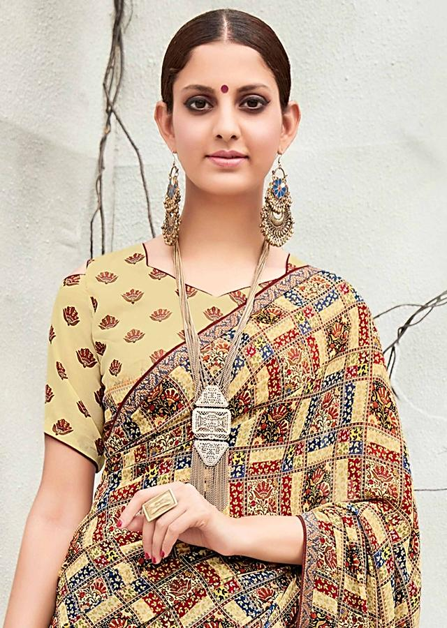 Multi Colored Saree In Georgette With Checks Design All Over Online - Kalki Fashion