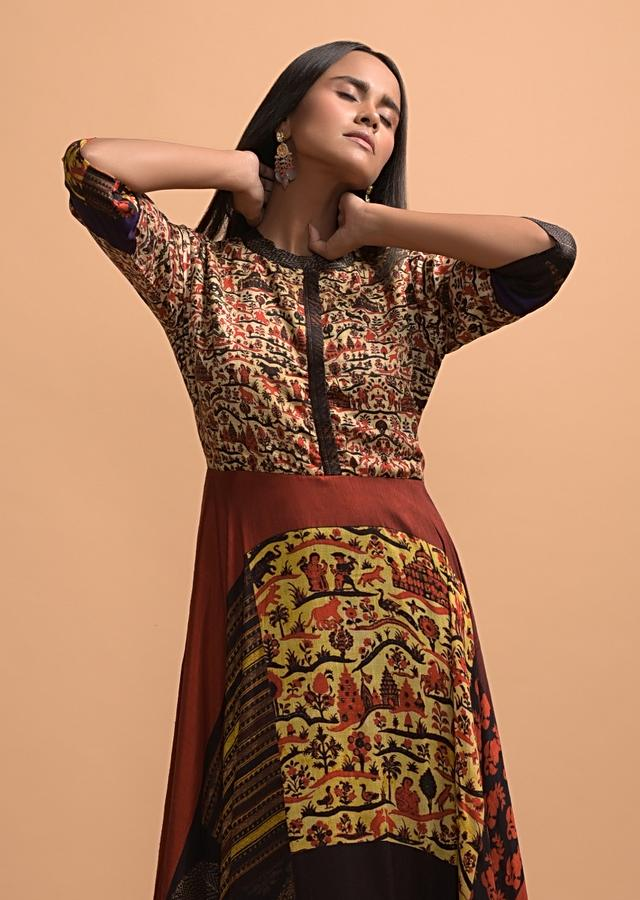 Multi Colored High Low Tunic With Figure And Color Blocked Print Online - Kalki Fashion