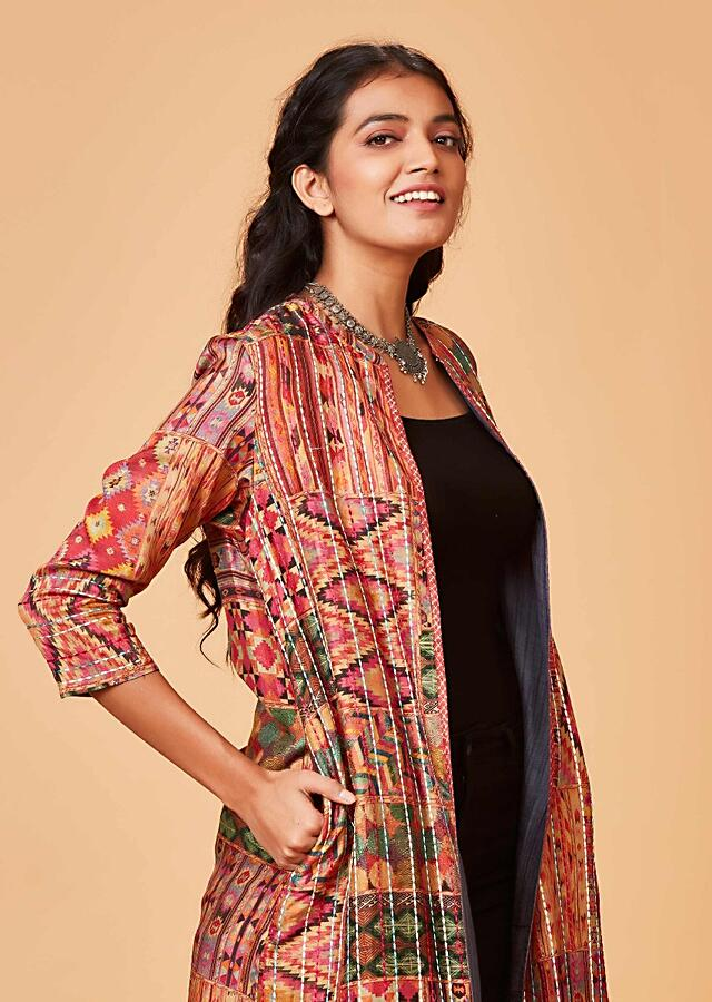 Multi Colored Jacket With Patola Print And Thread Embroidery Online - Kalki Fashion