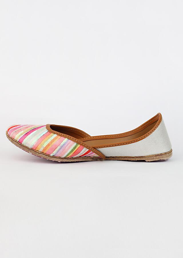 Multi Colored Juttis With Diagonal Stripe Print And Sequins Highlights By Vareli Bafna