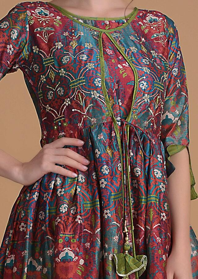 Multi Colored Kurti With Abstract Floral Print In Attached Jacket Pattern With Green Sharara  Online - Kalki Fashion