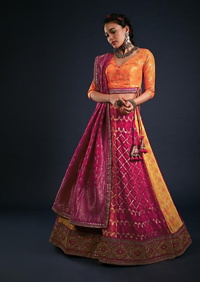 Multi Colored Lehenga In Red, Orange And Yellow With Woven Bandhani And Jaal Design And Gotta Embroidered Border Online - Kalki Fashion