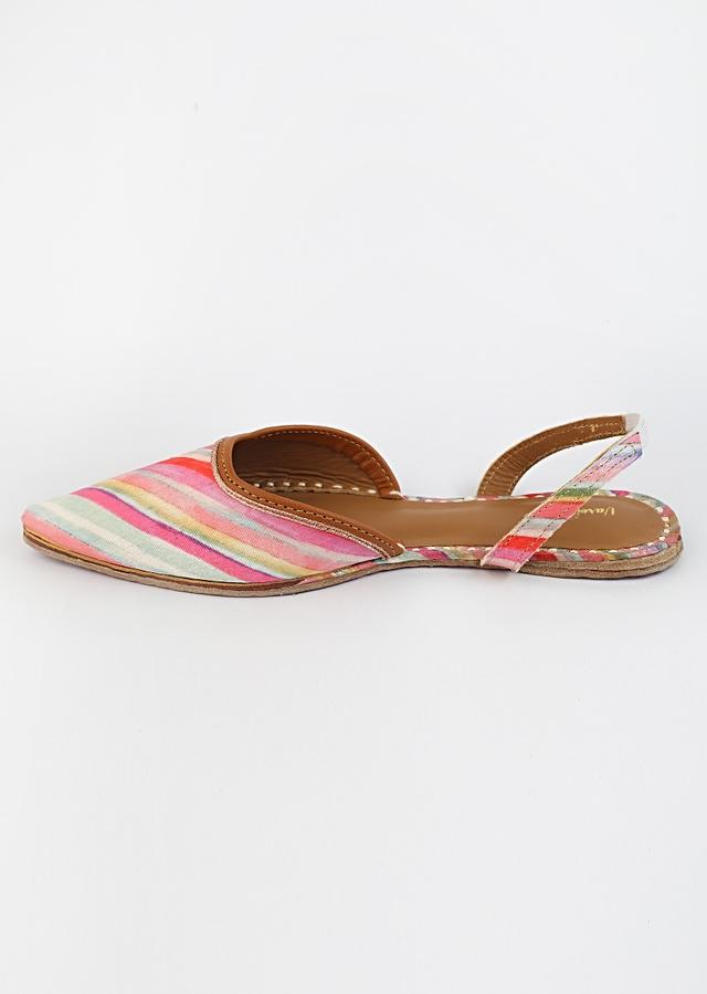 Multi Colored Mules With Back Strap Featuring Diagonal Striped Print And Braided Rose Gold Zari By Vareli Bafna