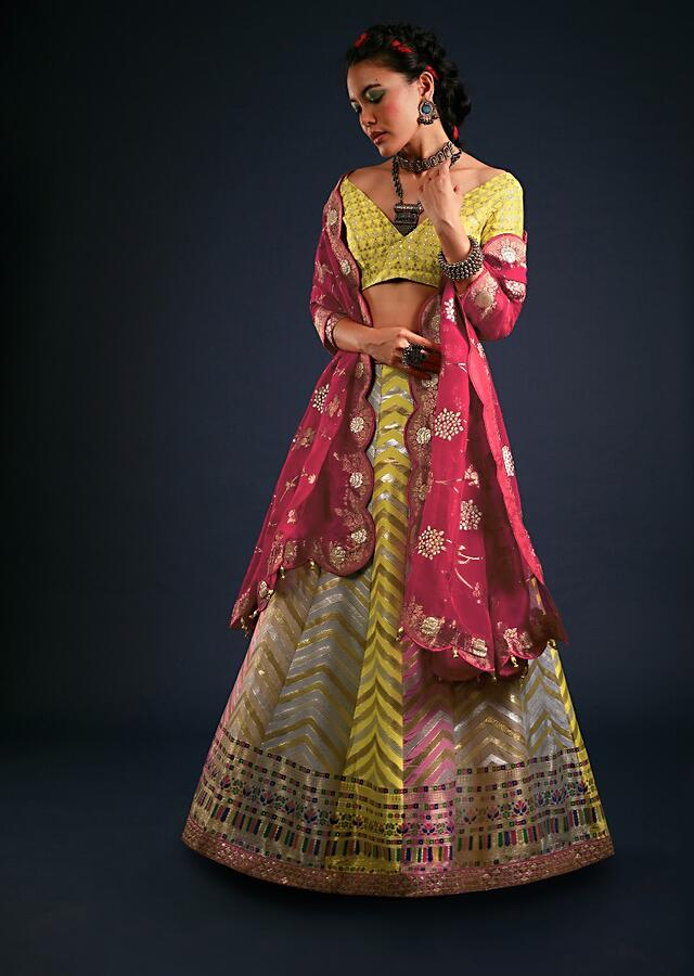 Multi Colored Panel Lehenga With Chevron Brocade Design And Contrasting Unstitched Blouse And Dupatta Online - Kalki Fashion