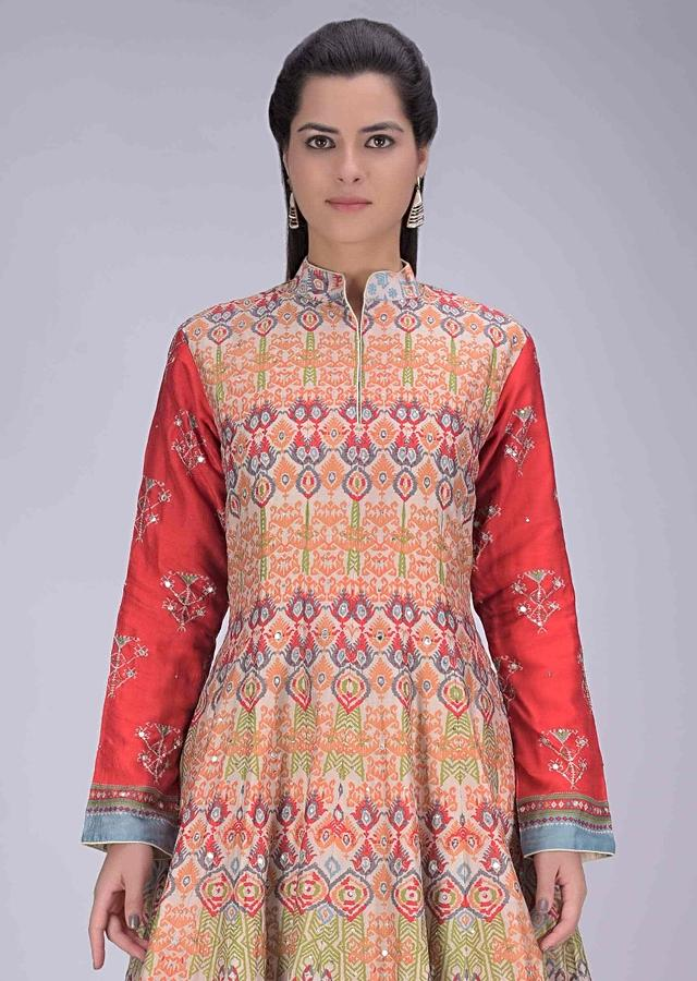 Multi Colored Suit With Patola Printed And Crepe Dupatta Online - Kalki Fashion
