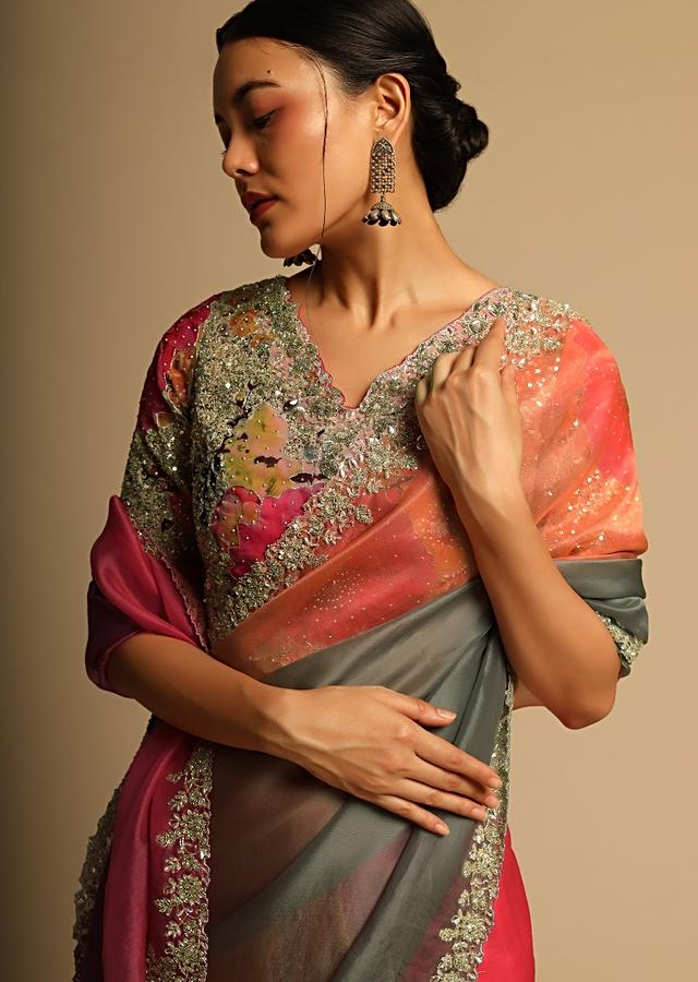 Multi Colored Saree In Organza With Shaded Design And Cut Dana Embroidery Along With Ready Stitched Blouse Online - Kalki Fashion