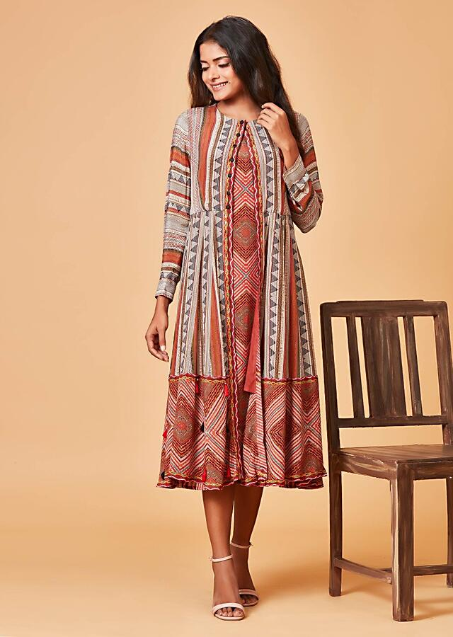 Multi Colored Tunic Dress And Jacket With Tribal Print Online - Kalki Fashion