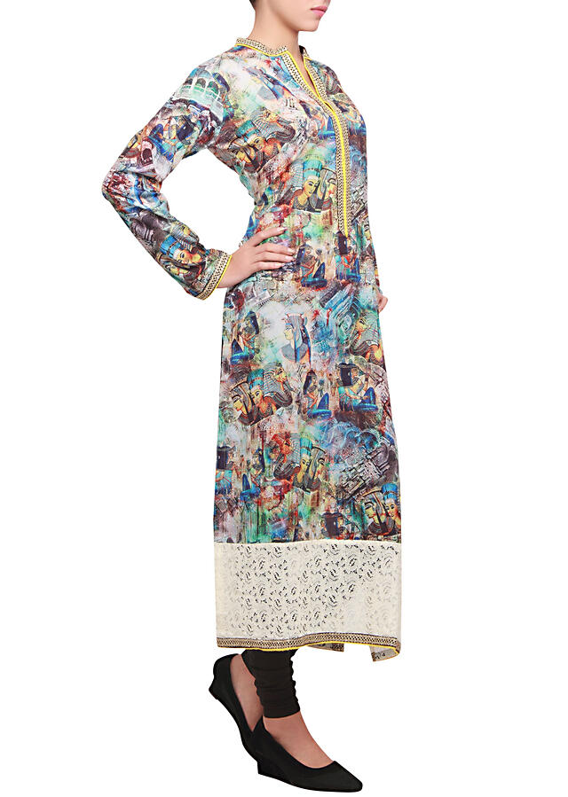 Multi coloured kurti with broad white border featured in silk only on kalki