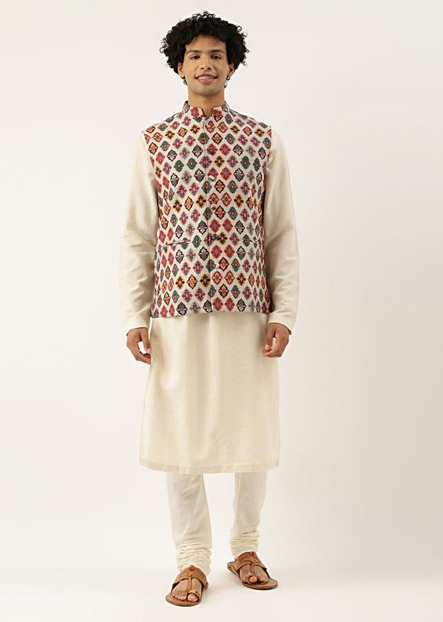 Multi Coloured Modi Jacket In Chanderi With Quirky Printed Buttis By Mayank Modi