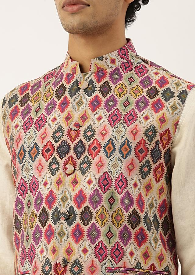 Multi Coloured Modi Jacket In Chanderi With Quirky Printed Jaal By Mayank Modi