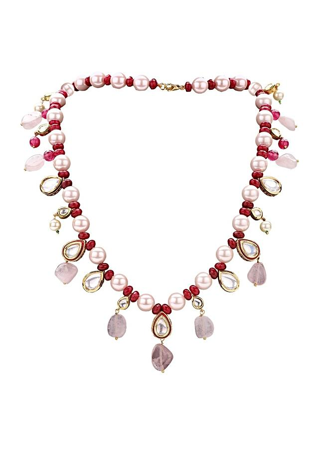 Multi Coloured Set Made Of Shell Pearls, Imitation Polki, Red Onyx And Rose Quartz Online - Joules By Radhika