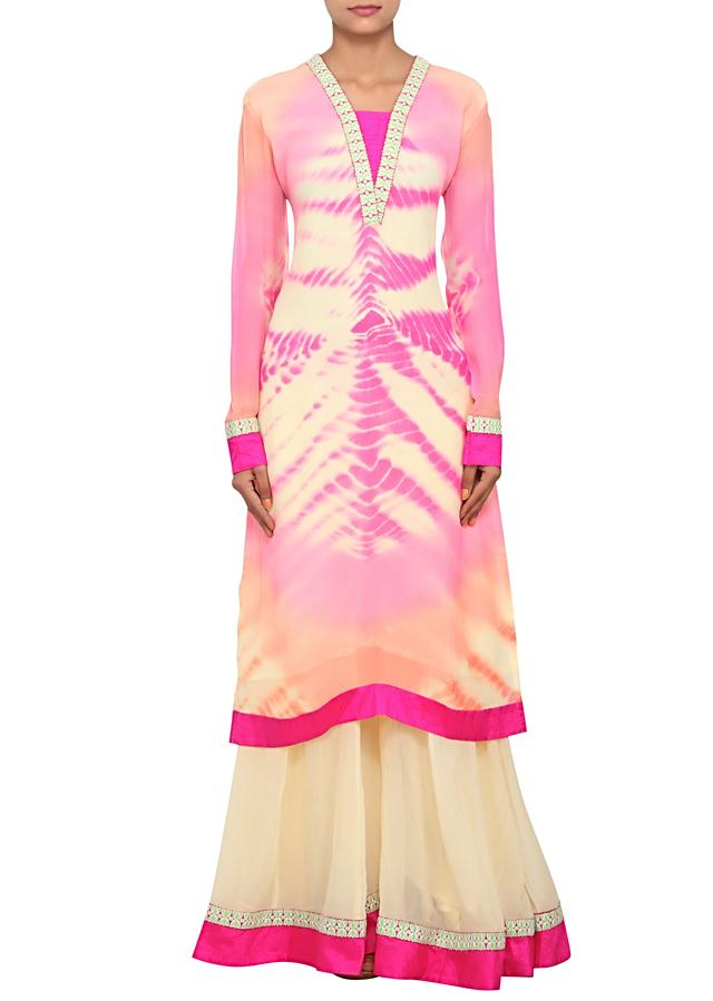 Multi coloured straight fit suit featured in chiffon, embellished with thread work only on Kalki