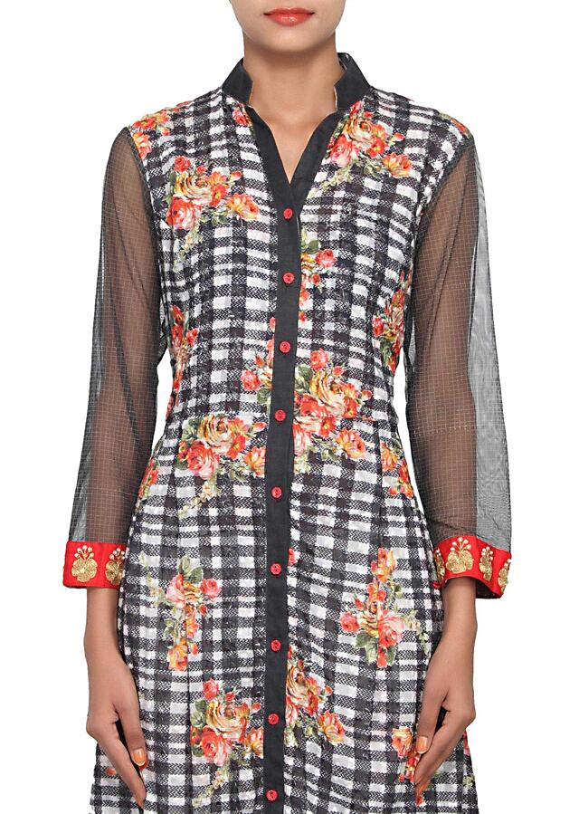 Multi coloured straight fit suit featured in jaquard, embellished with digital print and sequence work only on Kalki