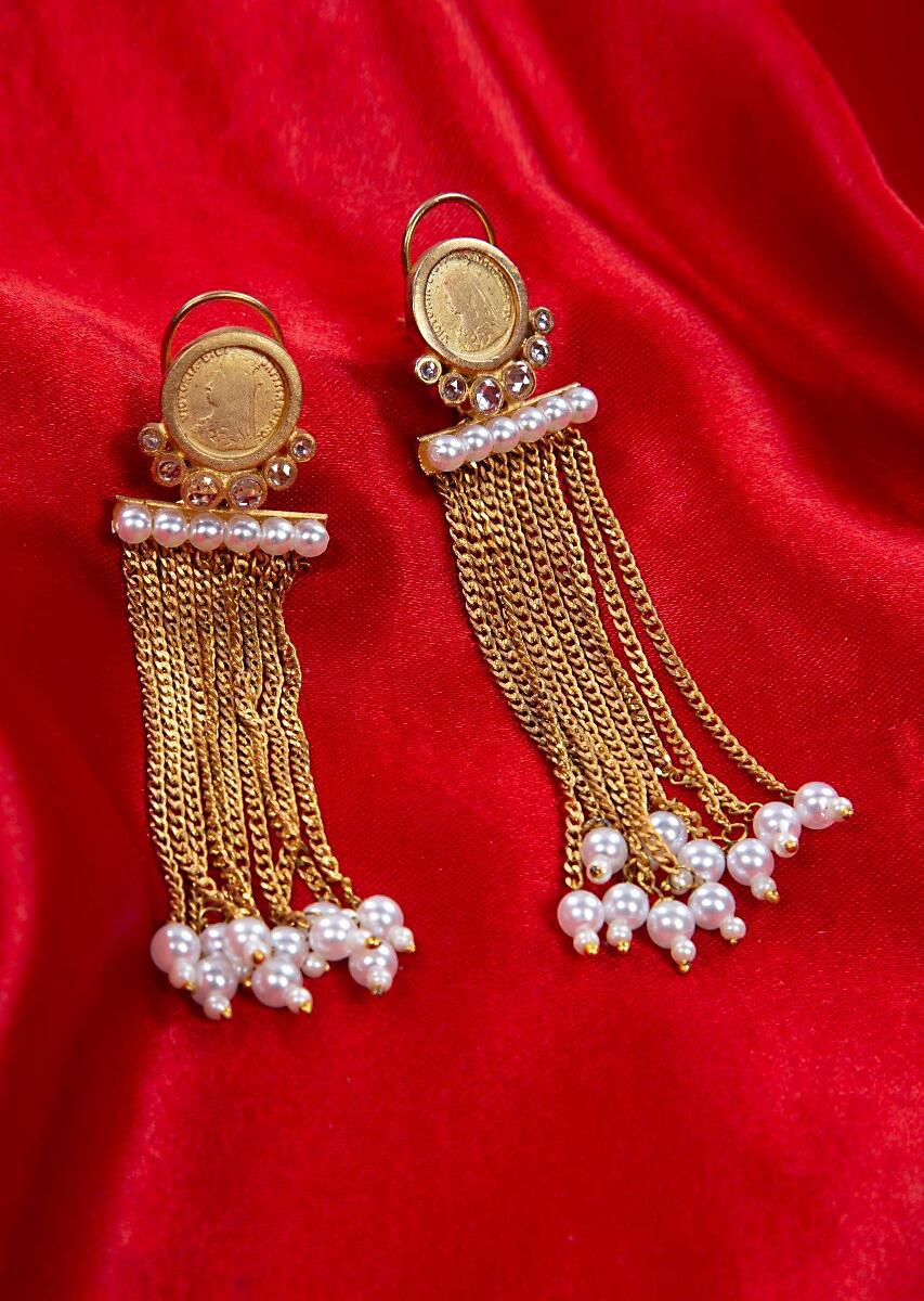 83e22a734 Multi layer sleek chain tassel earring adorn with pearls only on kalkiMore  Detail