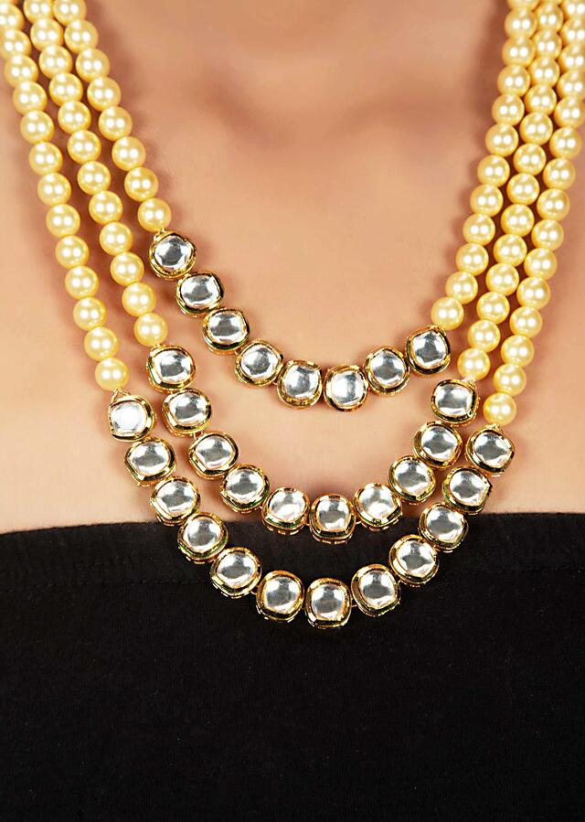 Multi Layered Nano Moti Necklace With Kundan Layer At The Bottom Online - Kalki Fashion