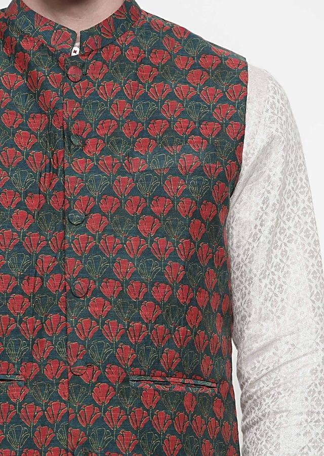 Multi Nehru Jacket In Chanderi With Red And Green Floral Print All Over By Mayank Modi