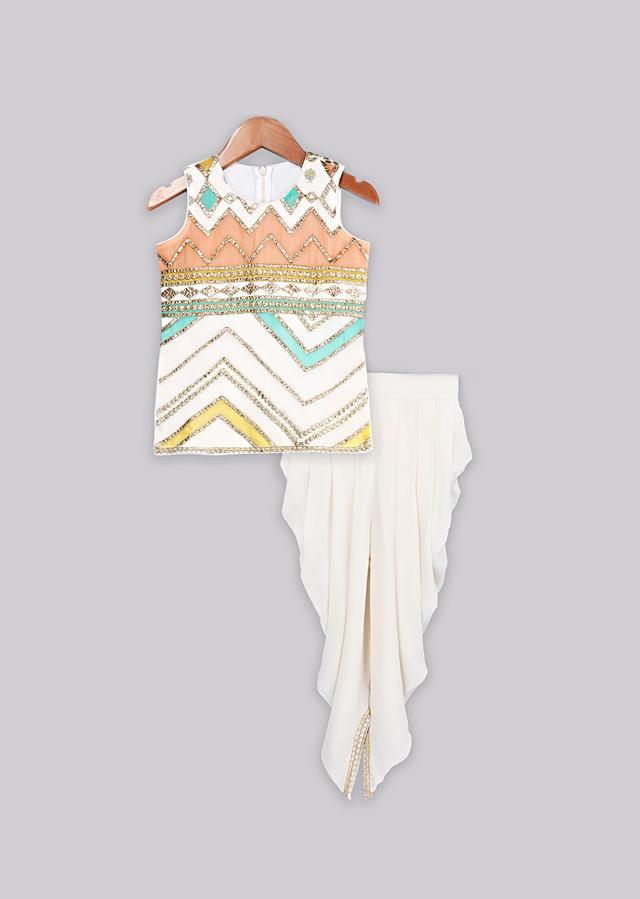 Multi color dhoti suit set with gotta and trims Online - Free Sparrow
